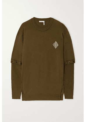 Chloé - Convertible Intarsia Wool-blend Sweater - Army green