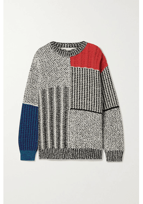 Stella McCartney - Patchwork Oversized Knitted Sweater - Gray