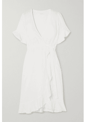 Honorine - Charlotte Ruffled Linen Wrap Dress - White
