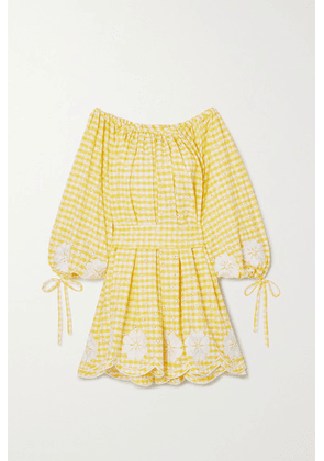 Innika Choo - Frida Burds Off-the-shoulder Checked Broderie Anglaise Cotton Mini Dress - Yellow
