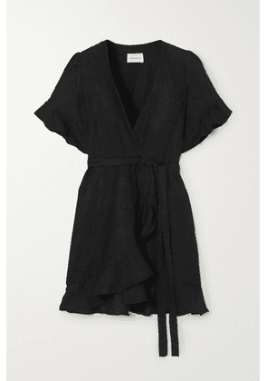 Honorine - Edie Ruffled Linen Wrap Mini Dress - Black