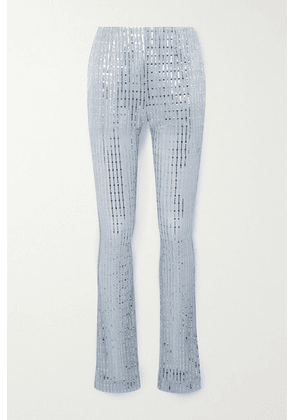 we11done - Sequin-embellished Metallic Ribbed-knit Skinny Pants - Sky blue