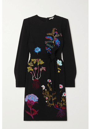 Stella McCartney - + Net Sustain Belted Embroidered Cady Midi Dress - Black