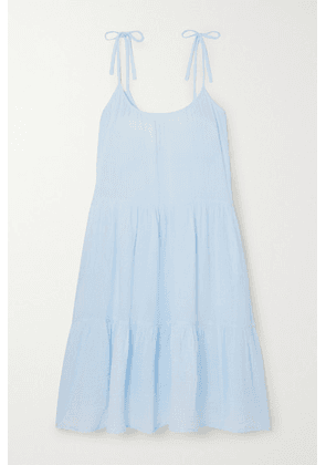 Honorine - Daisy Tiered Crinkled Cotton-gauze Dress - Blue