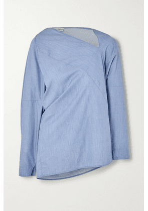palmer//harding - Triangle Asymmetric Cotton-chambray Shirt - Blue