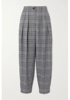 See By Chloé - Pleated Checked Twill Tapered Pants - Blue