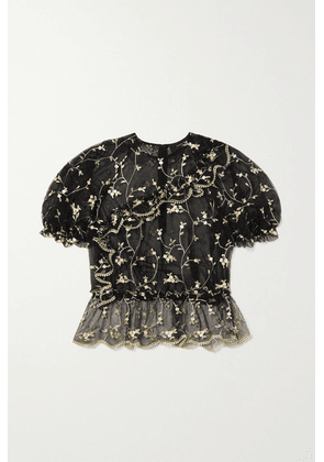 Simone Rocha - Bubble Ruffled Embroidered Tulle Top - Black