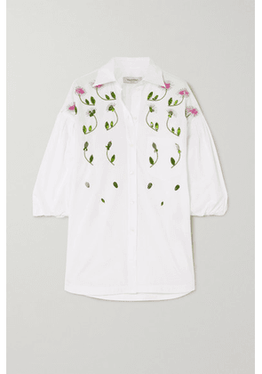 Valentino - Oversized Embellished Cotton-poplin Blouse - White