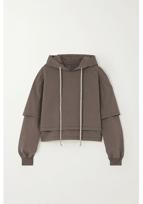 Rick Owens - Hustler Cropped Layered Cotton-jersey Hoodie - Light gray