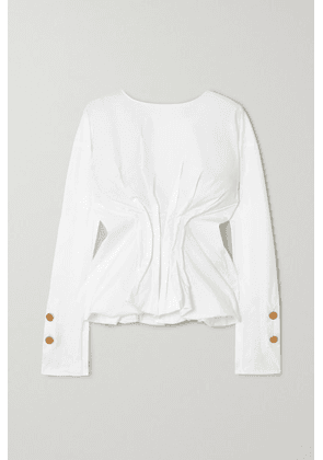 A.W.A.K.E. MODE - Gathered Cotton-blend Poplin Blouse - White