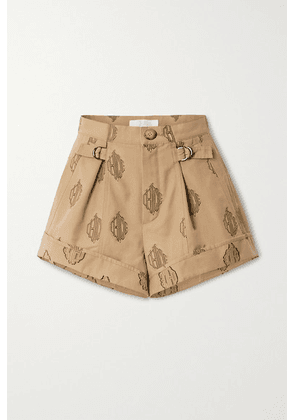 Chloé - Embroidered Pleated Cotton Shorts - Beige