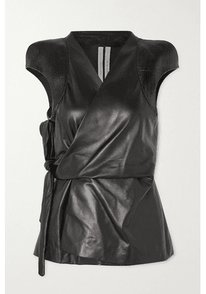 Rick Owens - Paneled Leather Wrap Top - Black