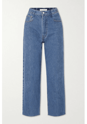 E.L.V. Denim - The Twin Cropped Distressed High-rise Straight-leg Jeans - Mid denim