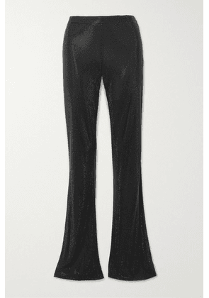Versace - Swarovski Crystal-embellished Stretch-crepe Flared Pants - Black