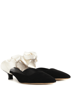 Coco suede and satin mules