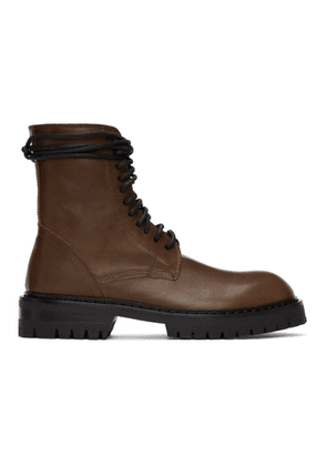 Ann Demeulemeester Brown Lace-Up Boots