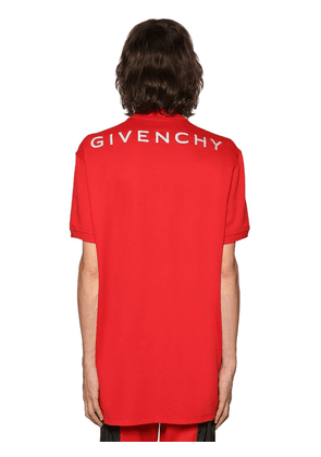 Oversize Reflective Logo Cotton Polo