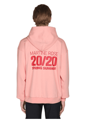 Print & Embroidered Cotton Jersey Hoodie