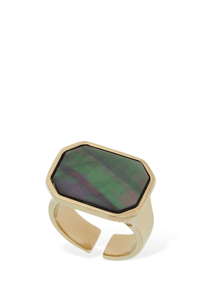 Golden Mother Squared Ring W/ Stone