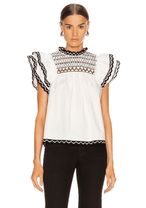 Ulla Johnson Hazel Top in Blanc - White,Abstract. Size 6 (also in 0).