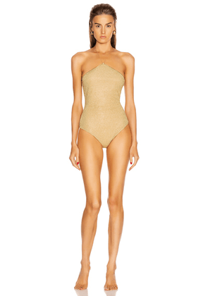 Oseree Neckless Maillot Swimsuit in Gold - Metallic. Size S (also in ).