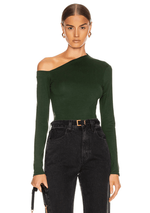 Enza Costa Angled Exposed Shoulder Long Sleeve Top in Evergreen - Green. Size S (also in ).