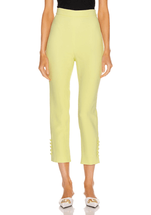 Cushnie High Waisted Cropped Pant in Celery - Green. Size 8 (also in 2).