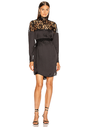 Smythe Belted Mini Lace Dress in Black - Black. Size XS (also in S,M).