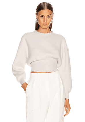 Alexander Wang Pearl Necklace Crew Neck Sweater in Ivory - White. Size XS (also in ).