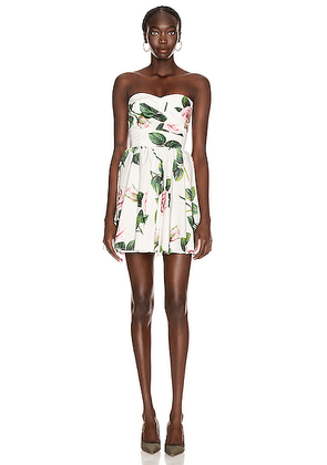 Dolce & Gabbana Strapless Floral Mini Dress in Rose - Floral,White. Size 36 (also in 40,42).