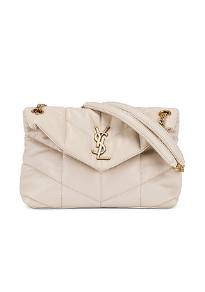 Saint Laurent Small LouLou Monogramme Bag in Crema Soft - White. Size all.