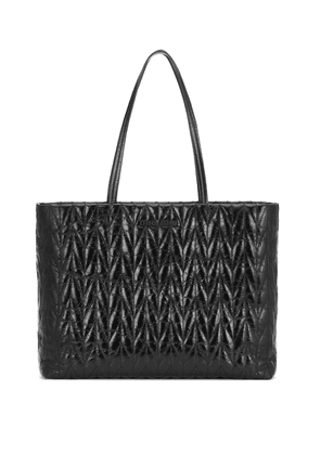 Quilted patent-leather tote