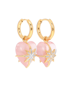 Star Heart gold-plated hoop earrings with quartz and diamond