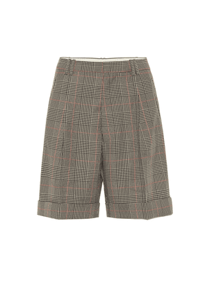Checked mid-rise shorts