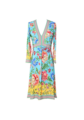 Long Sleeve Floral Printed Dress - Turquoise