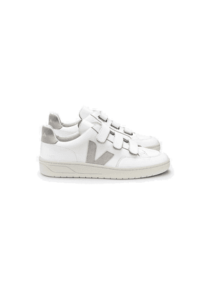 V- Lock Leather Trainers - Extra White & Natural