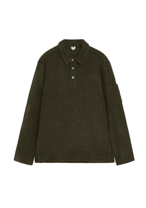 Wool Blend Pullover Shirt - Green
