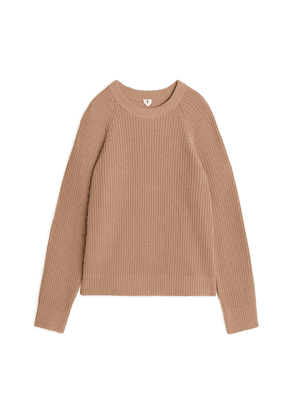 Cotton/Wool Ribbed Jumper - Beige