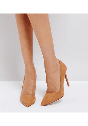 ASOS DESIGN Paris pointed high heeled court shoes in caramel-Beige
