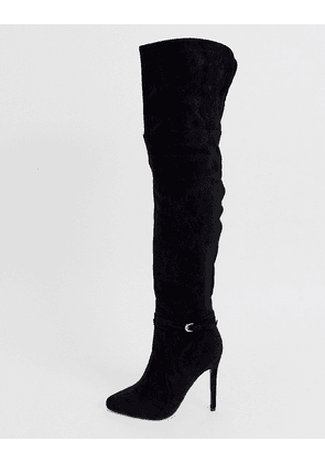 Lost Ink buckle over the knee stiletto boot in black