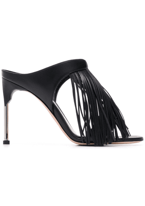Leather Mules With Fringes