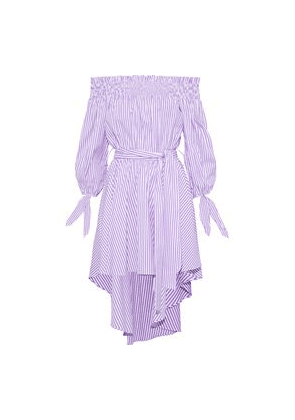 Caroline Constas Lou Off-the-shoulder Striped Cotton-poplin Mini Dress Woman Lavender Size S