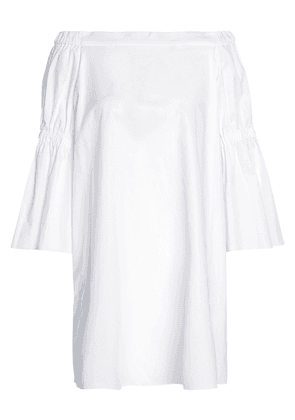 Tibi Off-the-shoulder Shirred Cotton-poplin Mini Dress Woman White Size 6
