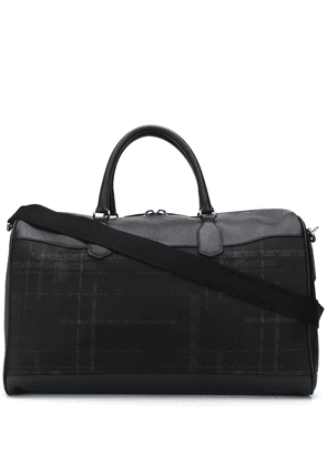 Canali checked logo-print holdall - Black