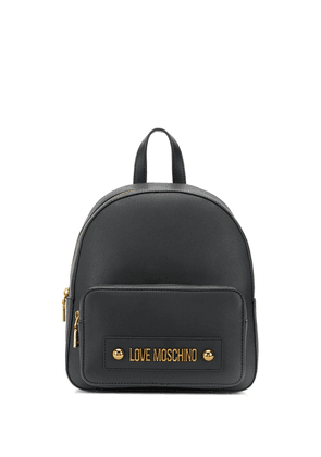 Love Moschino logo plaque backpack - Black