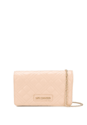 Love Moschino logo quilted crossbody bag - NEUTRALS