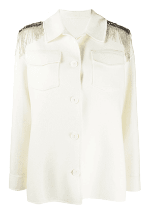 Pinko crystal fringe jacket - White