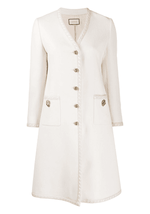 Gucci single-breasted embellished coat - NEUTRALS