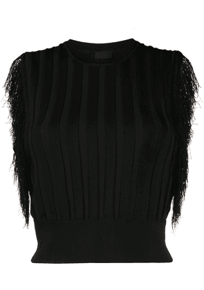 Pinko fringed knitted top - Black