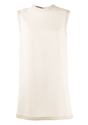 Gucci embroidered trim sleeveless mini dress - NEUTRALS